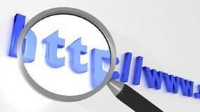Magnifier glass enlarging http of an internet address seo concep Stock Photography