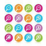 Magnifier glass icons, analytics icons Stock Photography
