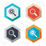 Magnifier glass icons. Plus and minus zoom tool Royalty Free Stock Photography