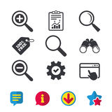 Magnifier glass icons. Plus and minus zoom tool. Royalty Free Stock Photography