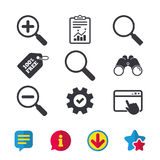 Magnifier glass icons. Plus and minus zoom tool. Stock Photography