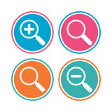 Magnifier glass icons. Plus and minus zoom tool. Royalty Free Stock Photos