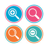 Magnifier glass icons. Plus and minus zoom tool. Royalty Free Stock Images