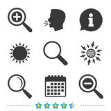 Magnifier glass icons. Plus and minus zoom tool. Magnifier glass icons. Plus and minus zoom tool symbols. Search information signs. Information, go to web and Stock Photos