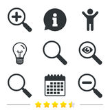 Magnifier glass icons. Plus and minus zoom tool. Stock Photo