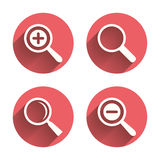 Magnifier glass icons. Plus and minus zoom tool. Symbols. Search information signs. Pink circles flat buttons with shadow. Vector stock illustration