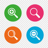 Magnifier glass icons. Plus and minus zoom tool. Royalty Free Stock Photo