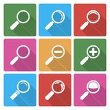 Magnifier Glass Icons wiht shadow Royalty Free Stock Photography