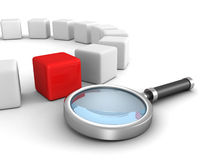 Magnifier glass with red different leader cube. Search concept 3d render illustration Royalty Free Stock Image