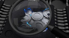 Magnifier glass showing a cracked open chip with gears cybersecu. Rity concept 3D illustration Royalty Free Stock Photography