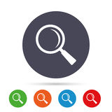 Magnifier glass sign icon. Zoom tool. Navigation. Stock Photo