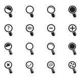 Magnifier Glass and Zoom Icons set Royalty Free Stock Images