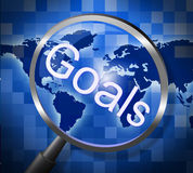 Magnifier Goals Indicates Aspire Inspiration And Magnify. Goals Magnifier Meaning Motivation Magnification And Research Royalty Free Stock Photo