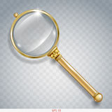 Magnifier gold search Stock Photos