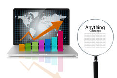 Magnifier and graph. Technical analysis Stock Images