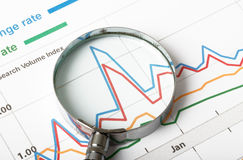 Magnifier with graphical charts. Magnifier on graphical charts, close up view Stock Photography
