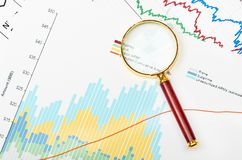 Magnifier on graphs. Royalty Free Stock Photos