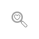 Magnifier with heart line icon, Love searching. Valentines day, love concept, vector graphics, a linear pattern on a white background, eps 10 Stock Photo