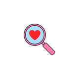 Magnifier with heart solid icon, Love searching. Valentines day, love concept, vector graphics, a colorful linear pattern on a white background, eps 10 Royalty Free Stock Photos
