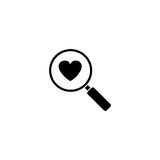 Magnifier with heart solid icon, Love searching. Valentines day, love concept, vector graphics, a filled pattern on a white background, eps 10 Royalty Free Stock Photography