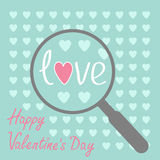 Magnifier and hearts. Zoom. Happy Valentines Day c Royalty Free Stock Images