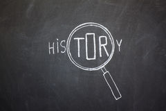 Magnifier and 'History' word Stock Photos