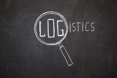 Magnifier i logistyki słowo ' Zdjęcia Stock