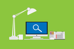 Magnifier icon on Computer Monitor Vector  monitor display Royalty Free Stock Photos