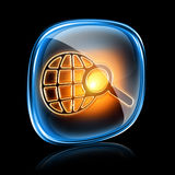 Magnifier icon neon. Stock Images