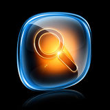 Magnifier icon neon. Stock Photo
