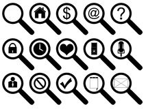 Magnifier Icon Set Stock Photography