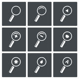 Magnifier icon set. Information search tool icon collection  signs Stock Photography