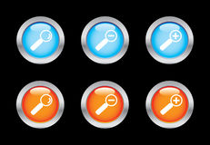 Magnifier icons. Magnifier glass button icons. Please check out my icons gallery Stock Photography