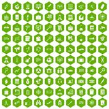 100 magnifier icons hexagon green. 100 magnifier icons set in green hexagon isolated vector illustration Royalty Free Stock Photo