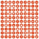 100 magnifier icons hexagon orange Stock Images