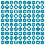 100 magnifier icons sapphirine violet. 100 magnifier icons set in sapphirine hexagon isolated vector illustration vector illustration