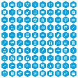 100 magnifier icons set blue. 100 magnifier icons set in blue hexagon isolated vector illustration Stock Illustration