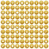 100 magnifier icons set gold. 100 magnifier icons set in gold circle isolated on white vector illustration stock illustration
