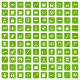 100 magnifier icons set grunge green. 100 magnifier icons set in grunge style green color isolated on white background vector illustration Royalty Free Stock Image