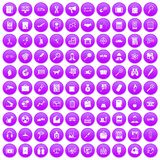 100 magnifier icons set purple. 100 magnifier icons set in purple circle isolated on white vector illustration Stock Illustration