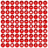 100 magnifier icons set red. 100 magnifier icons set in red circle isolated on white vector illustration Stock Illustration