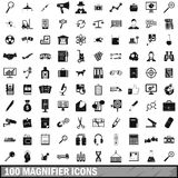 100 magnifier icons set, simple style. 100 magnifier icons set in simple style for any design vector illustration Stock Photo