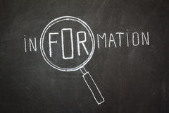 Magnifier and 'Information' word Stock Image
