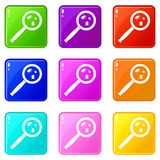 Magnifier and insects icons 9 set Royalty Free Stock Photography