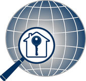 Magnifier with key, house and planet silhouette Royalty Free Stock Photography
