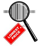 Magnifier with label. Vector illustration of magnifier with lowest price label Stock Photo