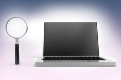 Magnifier and a Laptop In Halftone Background Stock Image
