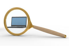 Magnifier and laptop on white background Stock Photo