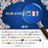 Magnifier and letters Royalty Free Stock Photo