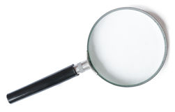 Magnifier or Magnifying glass isolated on white Stock Photos